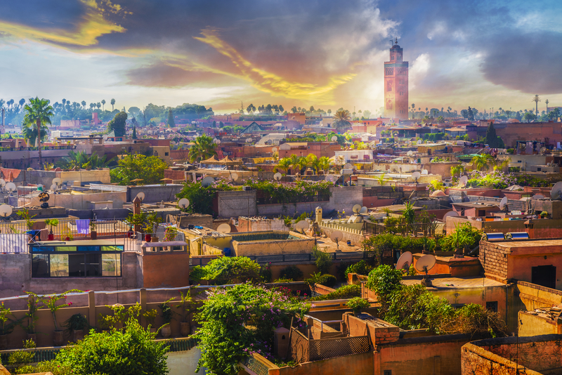 Marrakesh is known as the Red City given the red sandstone walls that surrounds the city.